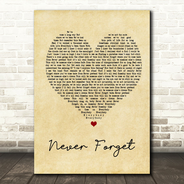 Take That Never Forget Vintage Heart Song Lyric Quote Print