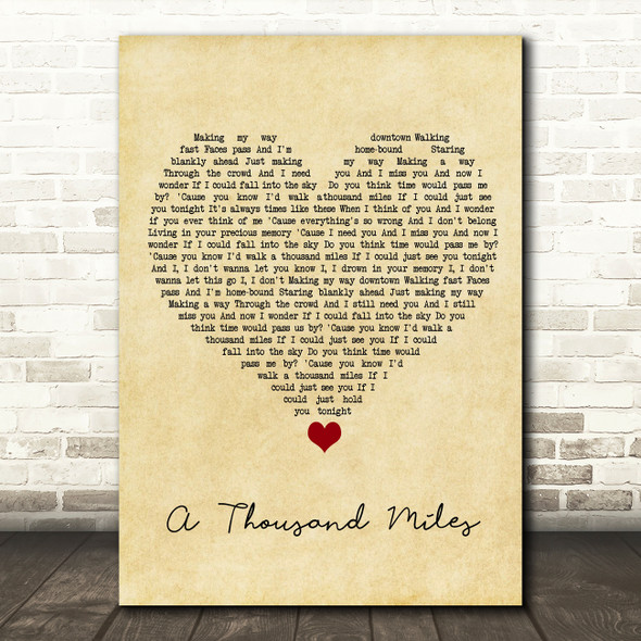 Vanessa Carlton A Thousand Miles Vintage Heart Song Lyric Wall Art Print