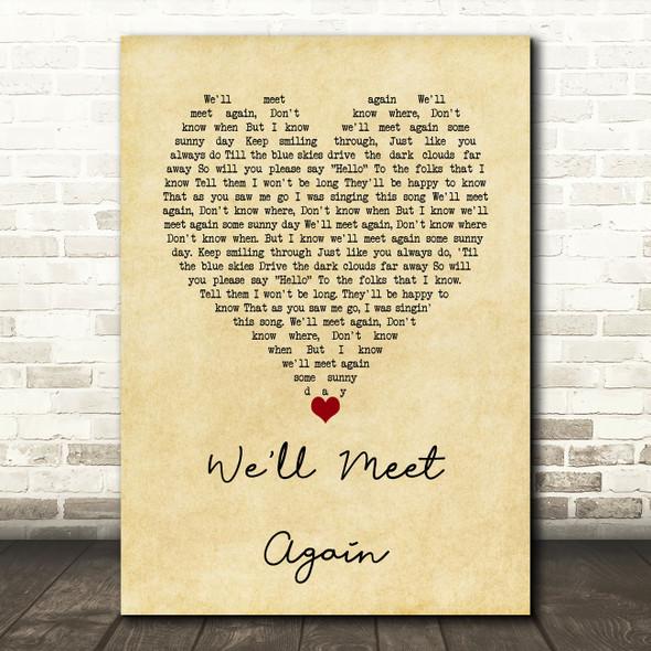 Vera Lynn We'll Meet Again Vintage Heart Song Lyric Wall Art Print