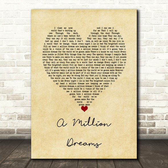 Ziv Zaifman, Hugh Jackman, Michelle Williams A Million Dreams Vintage Heart Song Lyric Wall Art Print