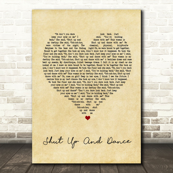 Walk The Moon Shut Up And Dance Vintage Heart Song Lyric Quote Print