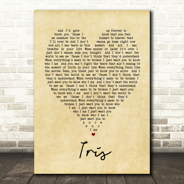 Iris Goo Goo Dolls Vintage Heart Quote Song Lyric Print