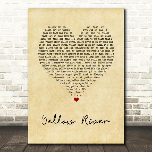 Christie Yellow River Vintage Heart Song Lyric Wall Art Print
