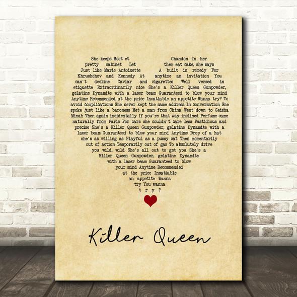 Queen Killer Queen Vintage Heart Song Lyric Wall Art Print