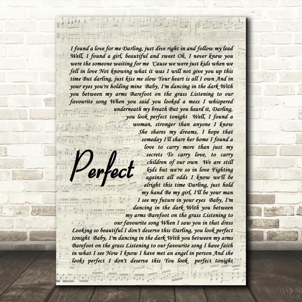 Ed Sheeran Perfect Quote Song Lyric Print