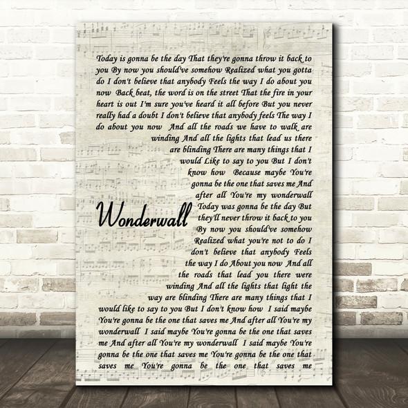 Wonderwall Oasis Script Quote Song Lyric Print