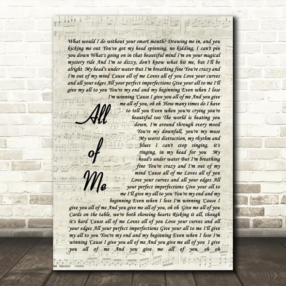 All Of Me John Legend Song Lyric Vintage Script Quote Print