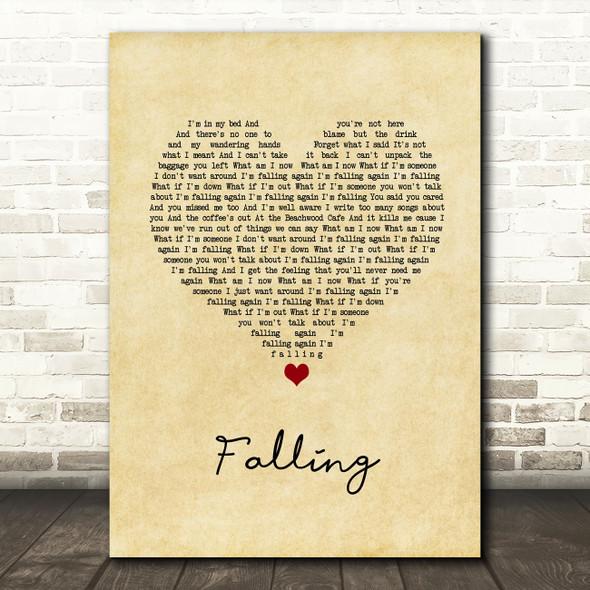 Harry Styles Falling Vintage Heart Song Lyric Wall Art Print