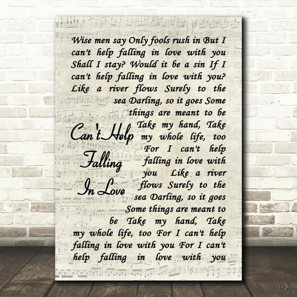 Can't Help Falling In Love Elvis Presley Song Lyric Vintage Script Quote Print