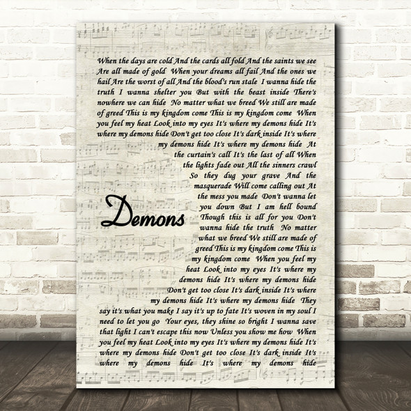 Demons Imagine Dragons Song Lyric Vintage Script Quote Print