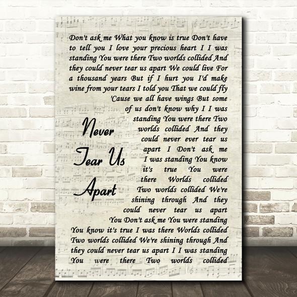 INXS Never Tear Us Apart Vintage Script Song Lyric Wall Art Print