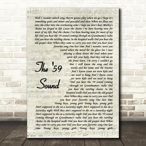 The Gaslight Anthem The '59 Sound Vintage Script Song Lyric Wall Art Print