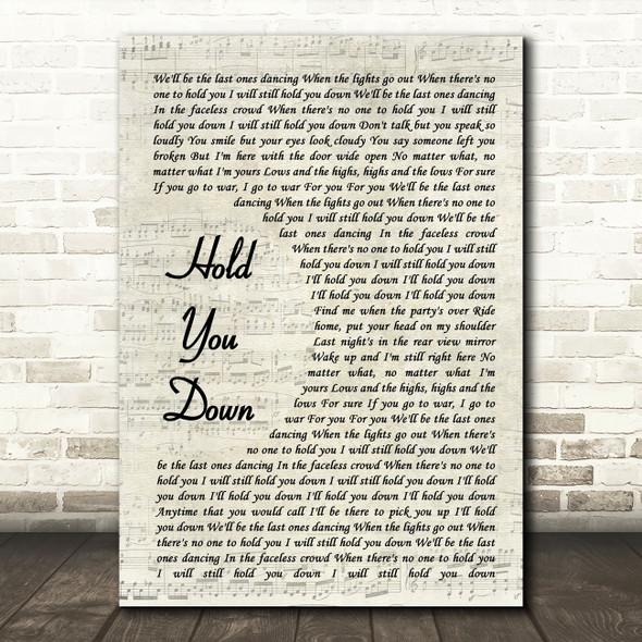 X Ambassadors HOLD YOU DOWN Vintage Script Song Lyric Wall Art Print