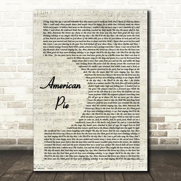 Don McLean American Pie Vintage Script Song Lyric Wall Art Print