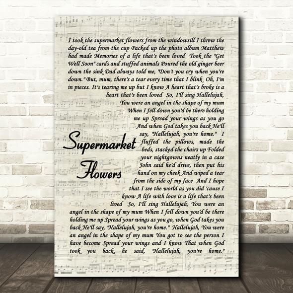 Ed Sheeran Supermarket Flowers Quote Song Lyric Print