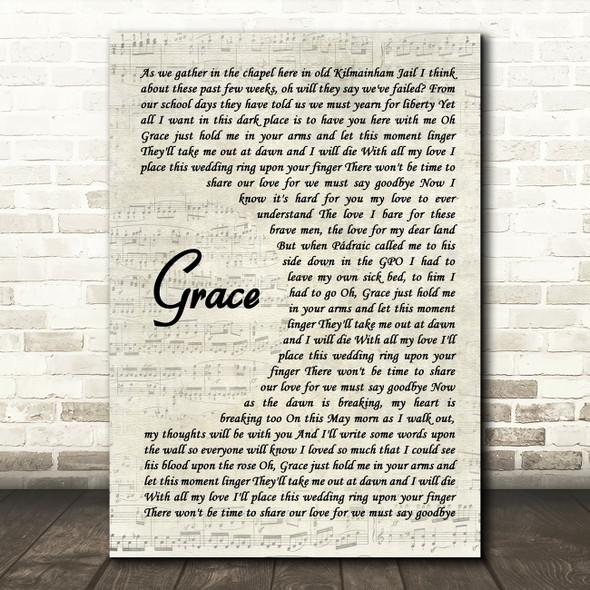 The Wolfe Tones Grace Vintage Script Song Lyric Wall Art Print