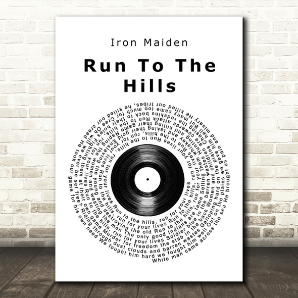 Iron Maiden Run To The Hills Vinyl Record Song Lyric Wall Art Print