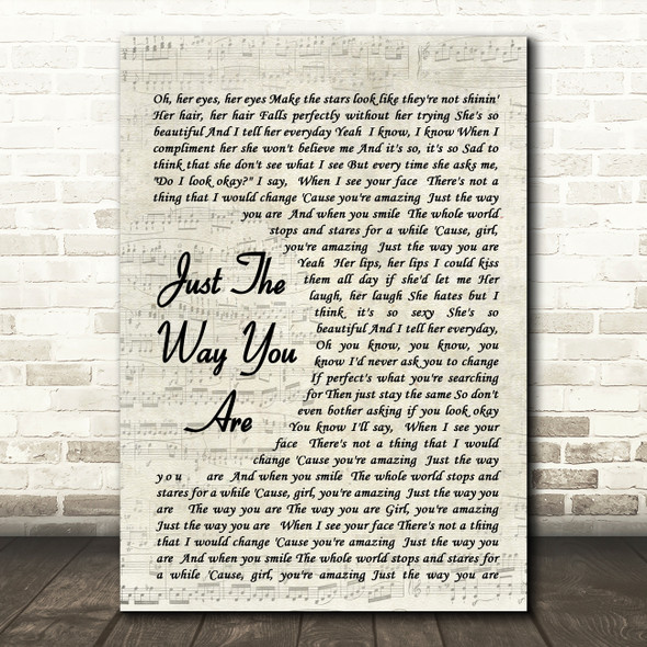Just The Way You Are Bruno Mars Song Lyric Vintage Script Quote Print