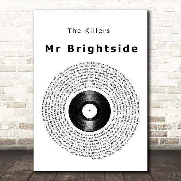 The Killers Mr Brightside Vinyl Record Song Lyric Wall Art Print