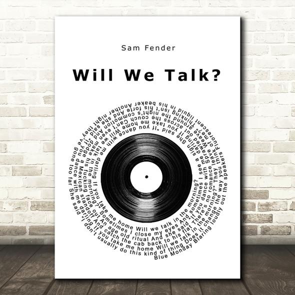 Sam Fender Will We Talk Vinyl Record Song Lyric Wall Art Print