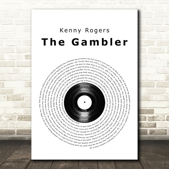 Kenny Rogers The Gambler Vinyl Record Song Lyric Wall Art Print
