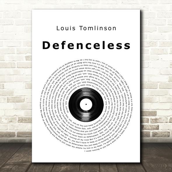 Louis Tomlinson Defenceless Vinyl Record Song Lyric Wall Art Print