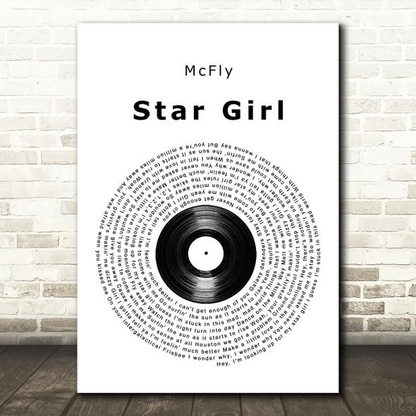 McFly Star Girl Vinyl Record Song Lyric Wall Art Print