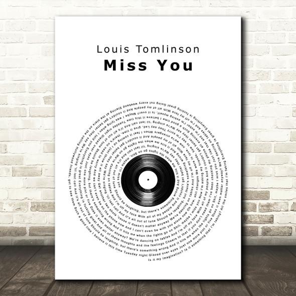 Louis Tomlinson Miss You Vinyl Record Song Lyric Wall Art Print