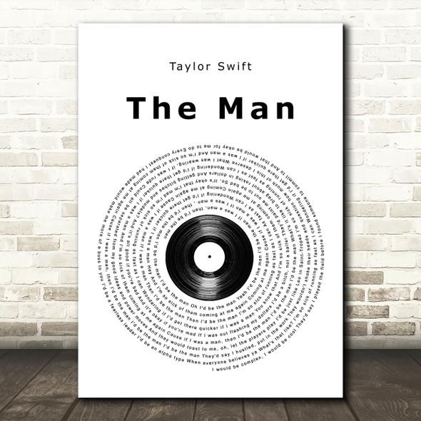 Taylor Swift The Man Vinyl Record Song Lyric Wall Art Print