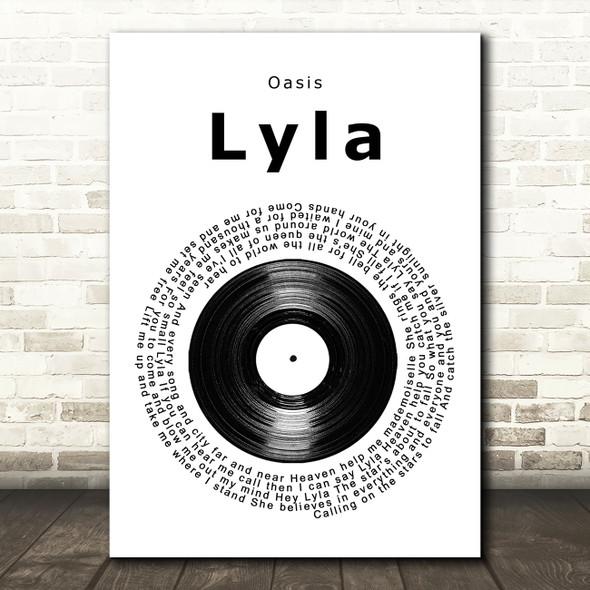 Oasis Lyla Vinyl Record Song Lyric Wall Art Print