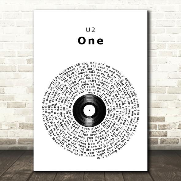 U2 One Vinyl Record Song Lyric Wall Art Print
