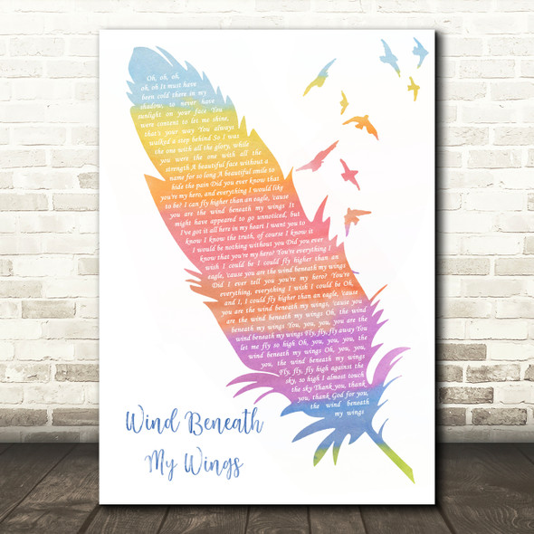 Bette Midler Wind Beneath My Wings Watercolour Feather & Birds Song Lyric Wall Art Print