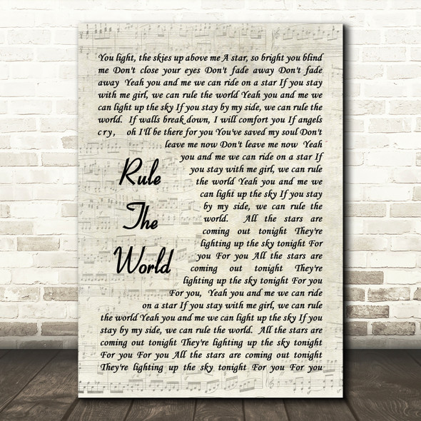 Rule The World Take That Song Lyric Vintage Script Quote Print