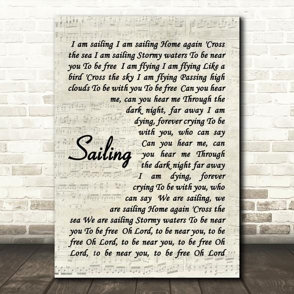 Sailing Rod Stewart Song Lyric Vintage Script Quote Print