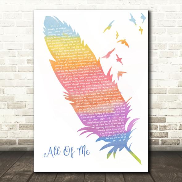 John Legend All Of Me Watercolour Feather & Birds Song Lyric Wall Art Print