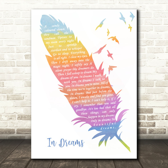 Roy Orbison In Dreams Watercolour Feather & Birds Song Lyric Wall Art Print