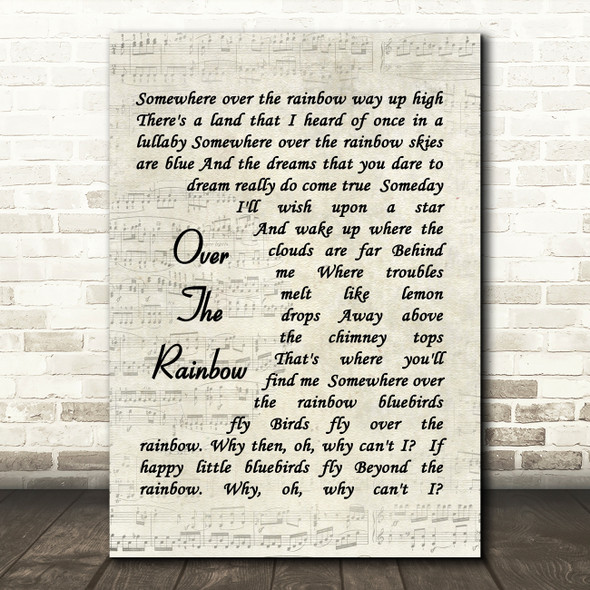 Somewhere Over The Rainbow Judy Garland Song Lyric Vintage Script Quote Print