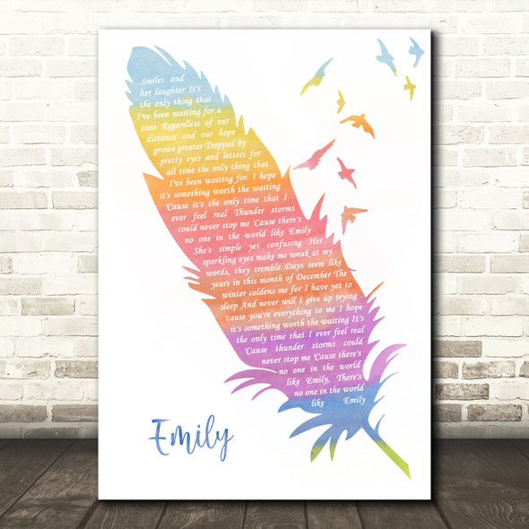 From First To Last Emily Watercolour Feather & Birds Song Lyric Wall Art Print