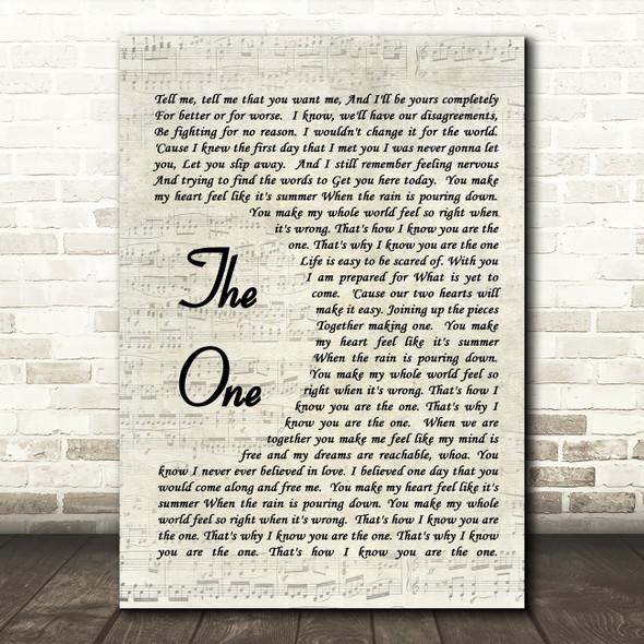 The One Kodaline Song Lyric Vintage Script Quote Print