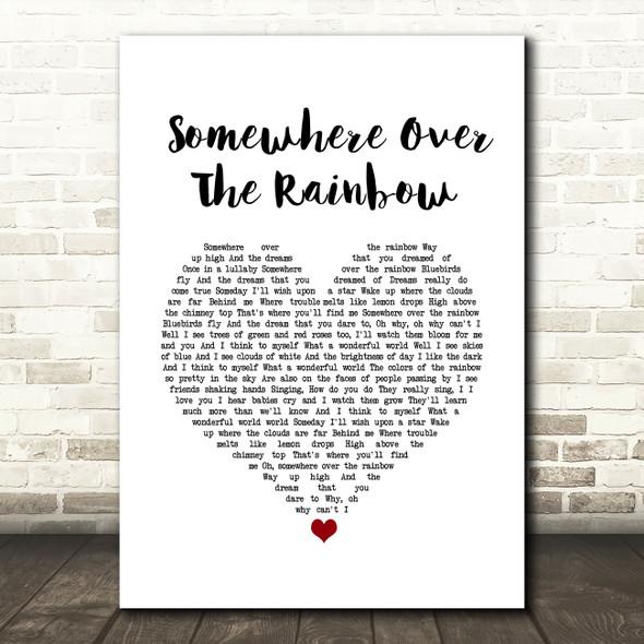 Israel Kamakawiwo'ole Somewhere Over The Rainbow White Heart Song Lyric Wall Art Print