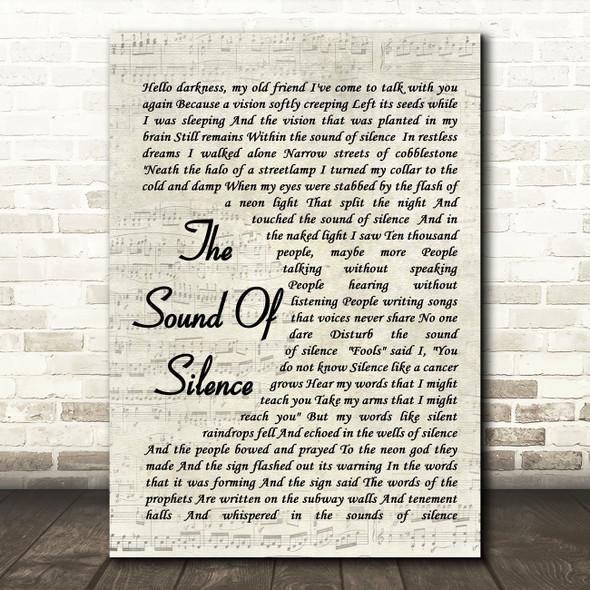 The Sound Of Silence Simon & Garfunkel Song Lyric Vintage Script Quote Print