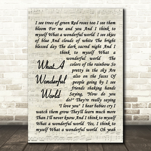 What A Wonderful World Louis Armstrong Song Lyric Vintage Script Quote Print