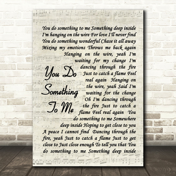 You Do Something To Me Paul Weller Song Lyric Vintage Script Quote Print