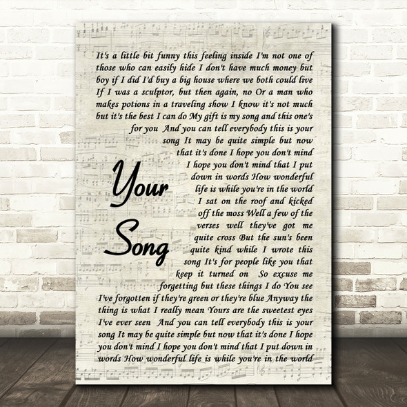 Your Song Elton John Song Lyric Vintage Script Quote Print