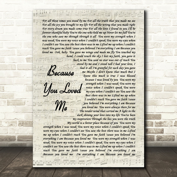 Celine Dione Because You Loved Me Vintage Script Song Lyric Quote Print