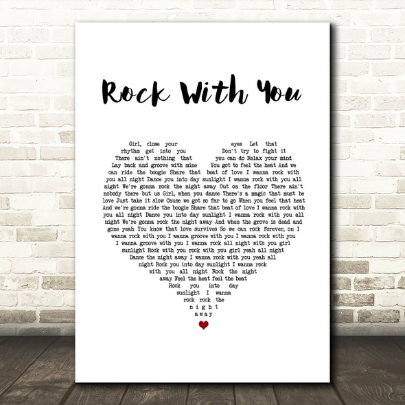 Michael Jackson Rock With You White Heart Song Lyric Wall Art Print
