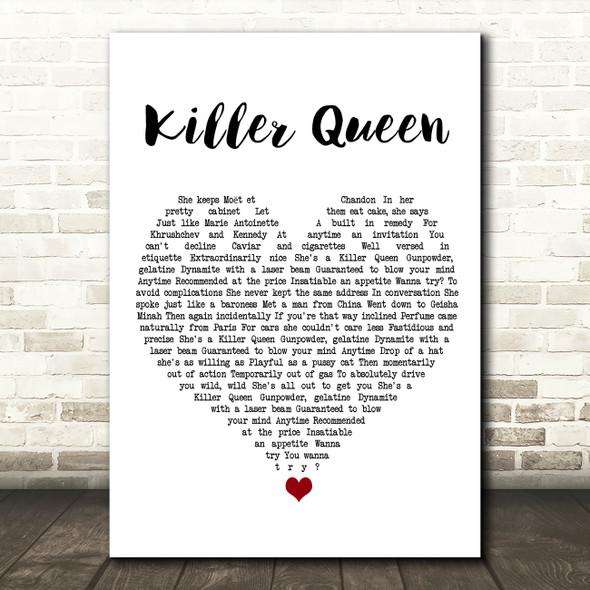 Queen Killer Queen White Heart Song Lyric Wall Art Print