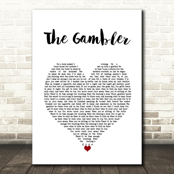 Kenny Rogers The Gambler White Heart Song Lyric Wall Art Print