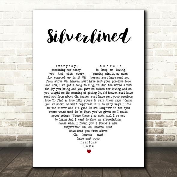 Xyconstant Silverlined White Heart Song Lyric Wall Art Print