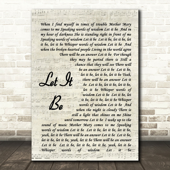 The Beatles Let It Be Vintage Script Song Lyric Quote Print